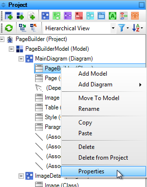Access properties from the context menu in the project tree