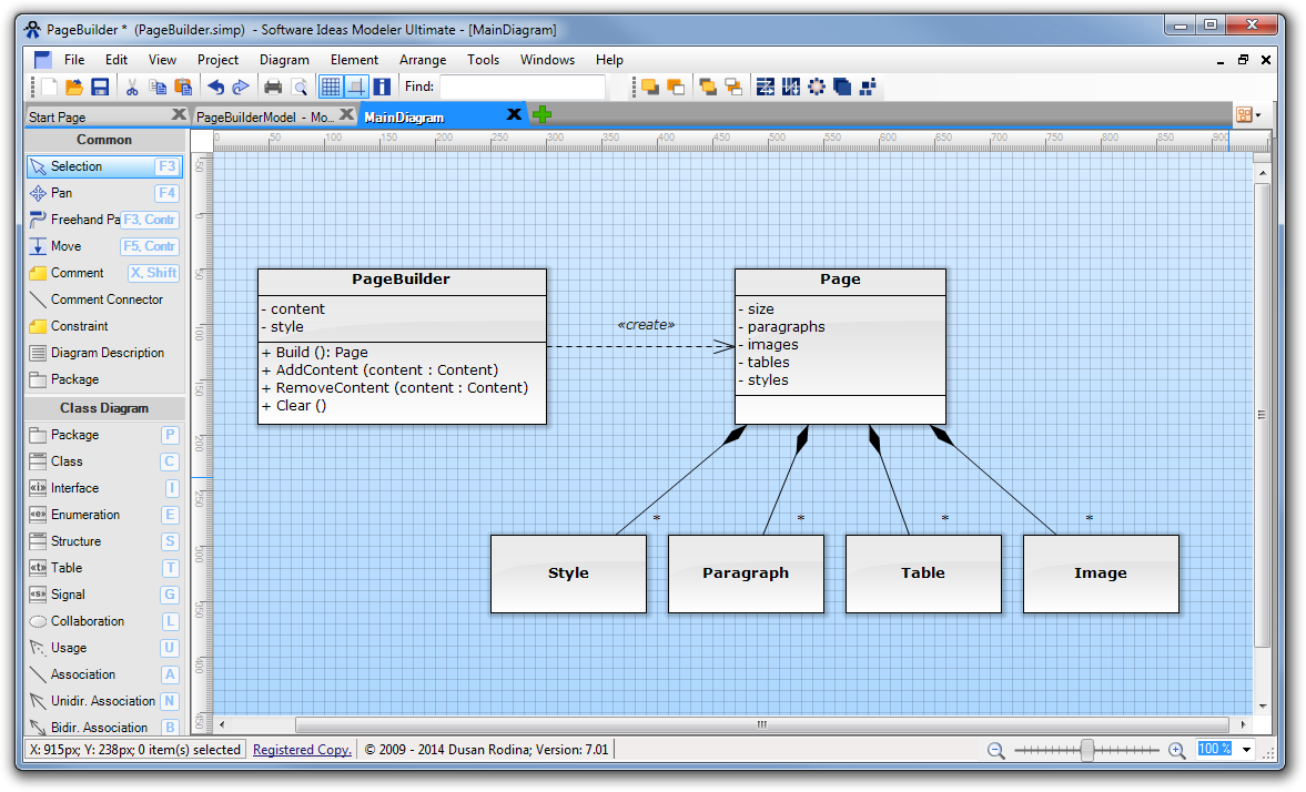 One element in multiple diagrams software ideas modeler we create another class diagram which describe details for image class click on green plus icon and choose class diagram diagram will be added and open ccuart Image collections