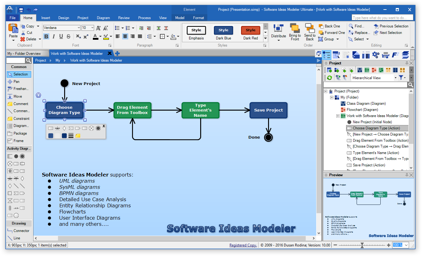 Version 10 easier and faster diagramming with ribbon and macros software ideas modeler 10 main screen ccuart Gallery