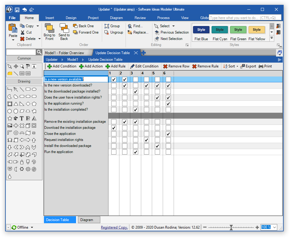 Decision Table Editor Window