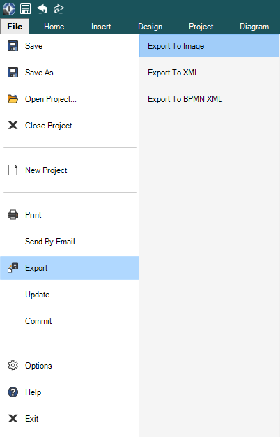 How to start the batch export using the menu