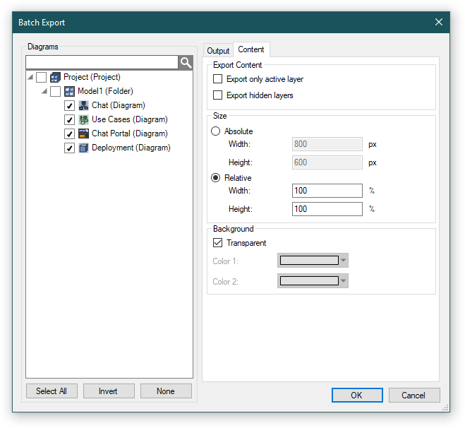 Batch Export dialog - Content tab