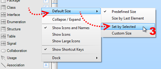 Choose Default Size/Set by Selected