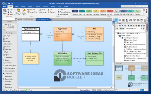 Software Ideas Modeler - diagramming CASE tool with UML, SysML, BPMN, ERD, flowchart support