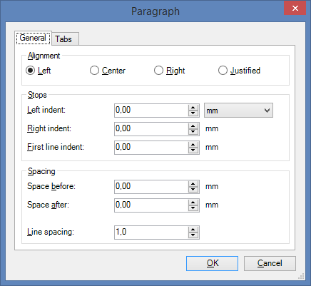 Paragraph Formatting Options in Dialog